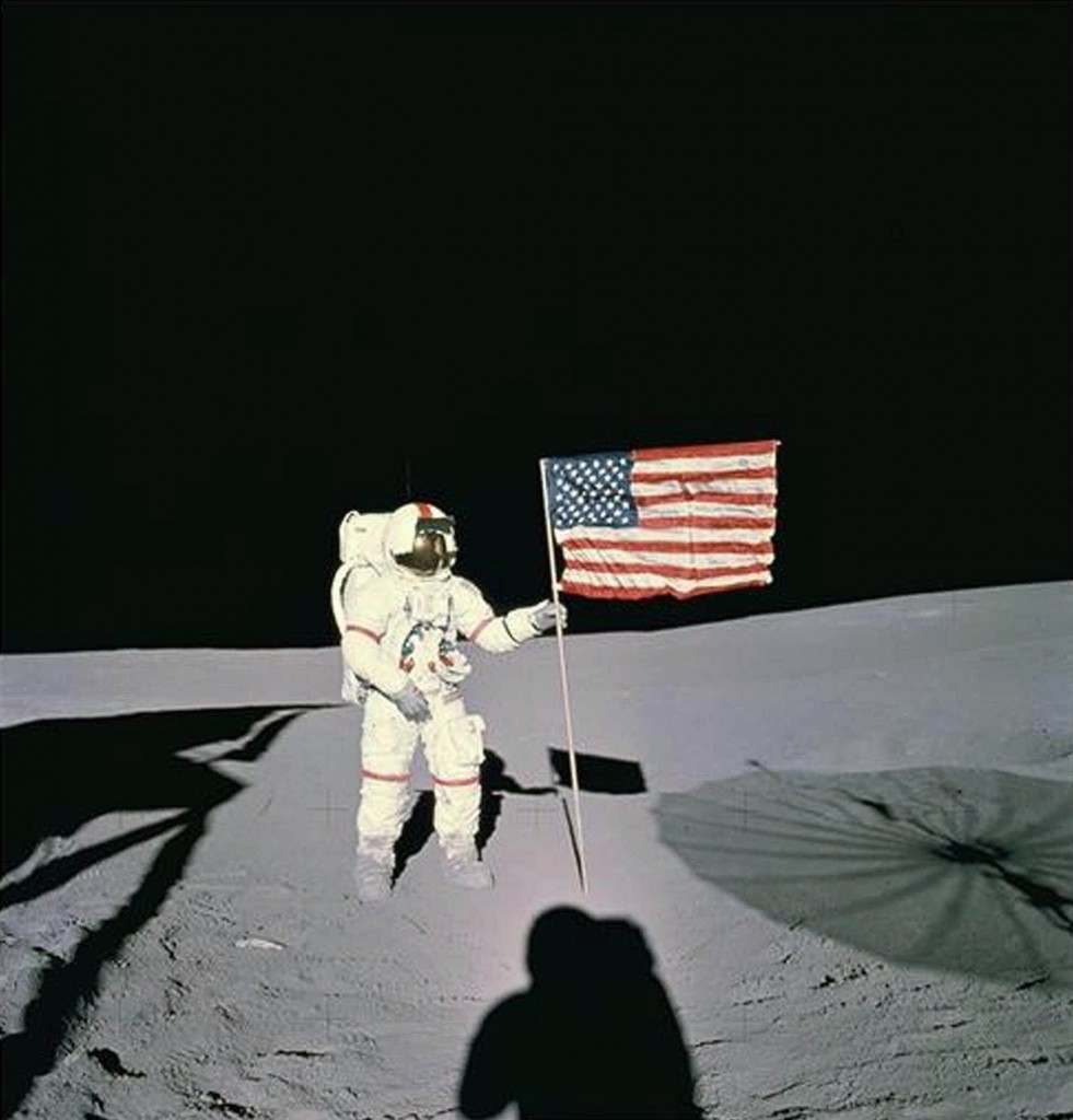 Astronaut Alan B. Shepard stands with the American Flag on Lunar Surface in February 1971. Shepard was the first American to fly in space and the fifth human to walk on the moon. This particular mission was Apollo 14 which launched Jan. 31, 1971, and returned Feb. 9, 1971 after having spent 33 1/2 hours on the surface. (AP Photo/NASA) Ref #: PA.8637936