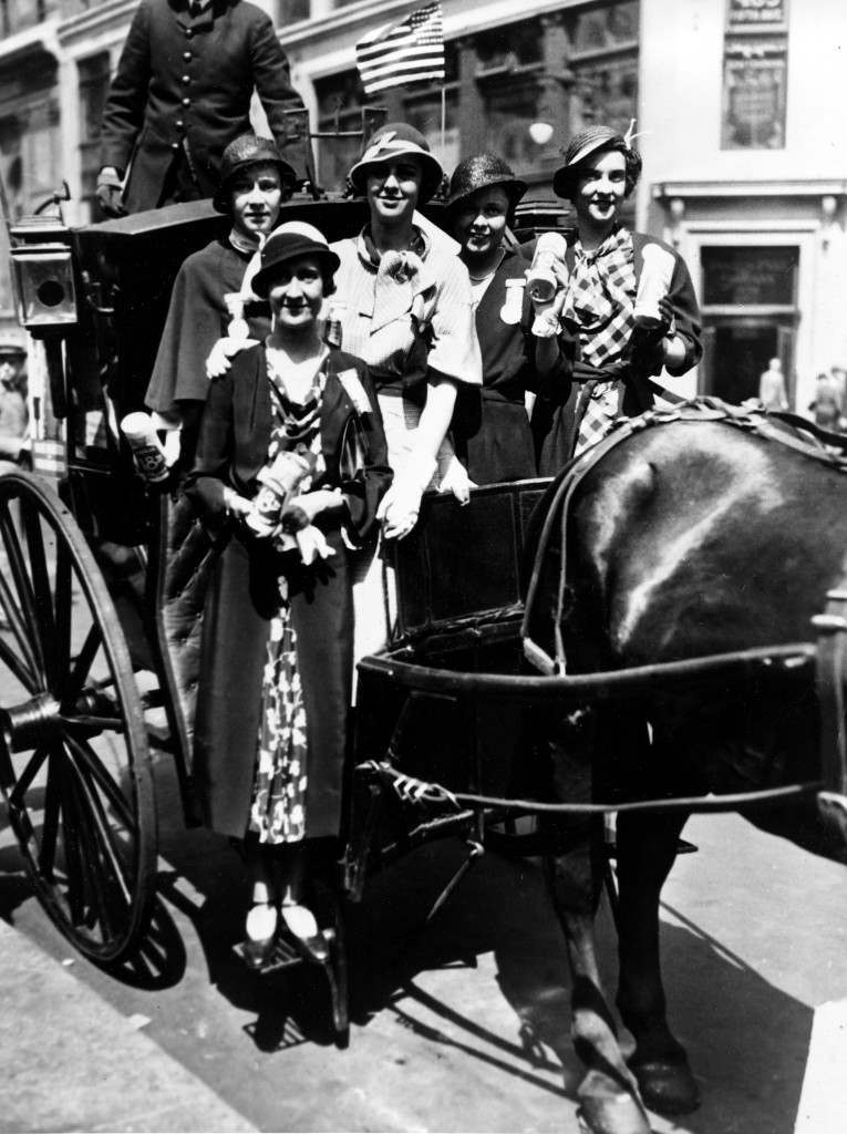 Workers of the Women's Organization for National Prohibition Reform (WONPR) pose in a hansom cab in front of the New York City public library on May 20, 1932, during their personal campaign to repeal the Eighteenth Amendment. From left to right are, Mrs. Richard P. Haws, Mrs. Edward K. McCagg, Phyllis Thompson, Mrs. Linsley V. Dodge and Mrs. Moore Erwin. (AP Photo) Ref #: PA.8649228 Date: 20/05/1932