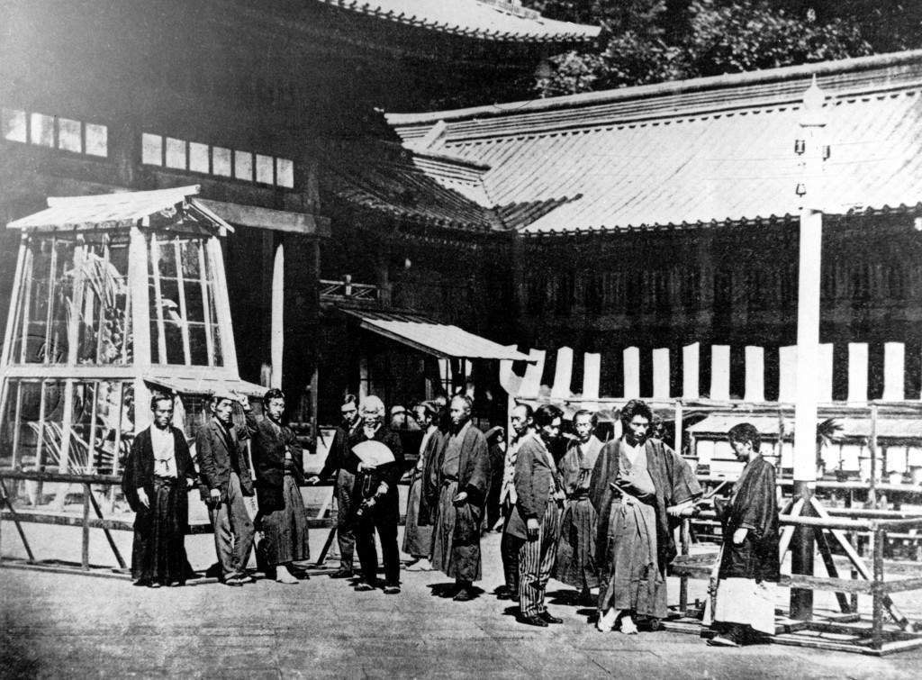 This photograph from 1877 shows visitors at the First Industrial Exhibition held in Tokyo, Japan. While some of the men are clad in traditional kimonos, others are wearing western jackets and trousers. (AP Photo) Ref #: PA.8652642