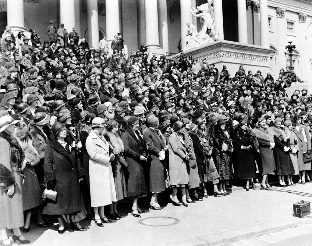 Delegates to the convention of the Women's Organization for National Prohibition Reform gather in front of the Capitol Building for a group photo in Washington, D.C., April 13, 1932. The W.O.N.P.R. delegation is on hand to call on their representatives and senators to repeal the dry law. (AP Photo) Ref #: PA.8655549 Date: 13/04/1932