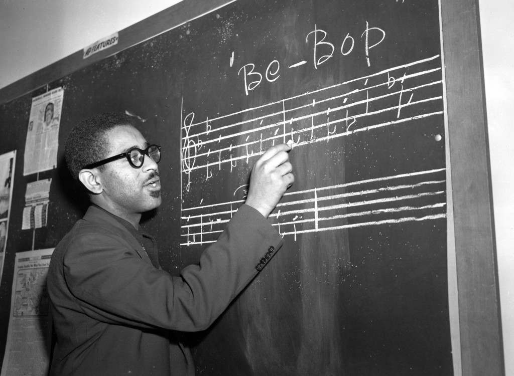 Trumpeter Dizzy Gillespie writes a phrase of Bee Bop Ref #: PA.8662801  Date: 01/05/1947
