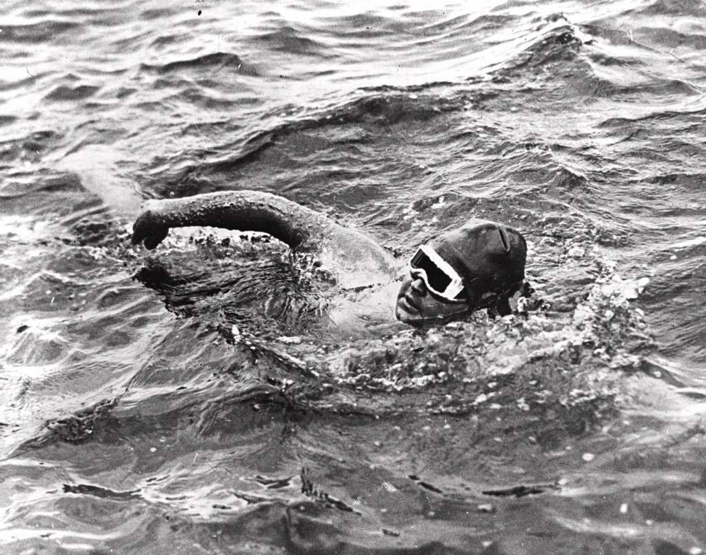 Nineteen-year-old Gertrude Ederle of New York City becomes the first woman to swim the English Channel on Aug. 6, 1926, as she crosses the waterway in 14 hours and 31 minutes. (AP Photo) Ref #: PA.8664621  Date: 06/08/1926