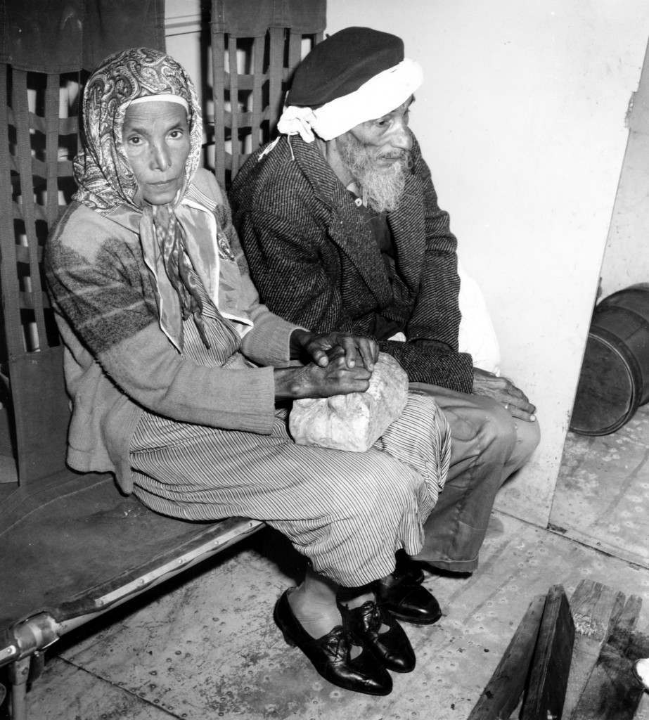 An old couple from Yemen sit in a C-46 plane which is taking them from their homeland to Eretz, Israel on March 21, 1949. (AP Photo) Ref #: PA.8685228 Date: 21/03/1949