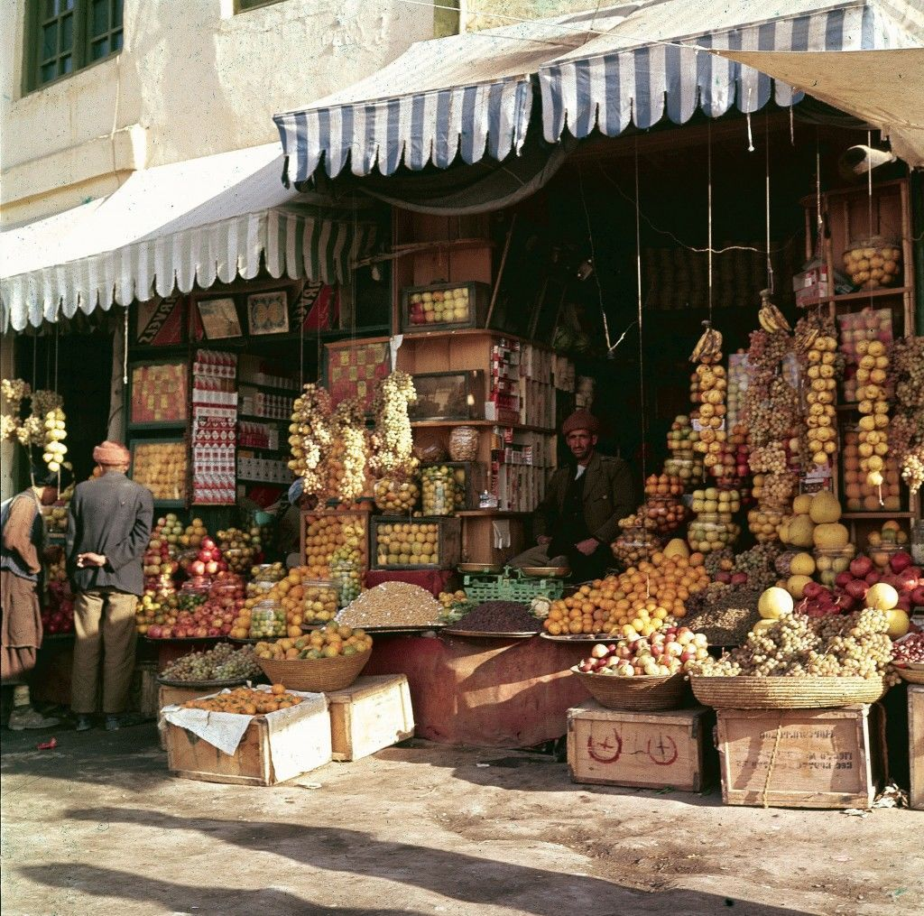 This view shows a shopfront display of fruits and nuts in Kabul, Afghanistan, Nov. 1961. (AP Photo/Henry S. Bradsher)