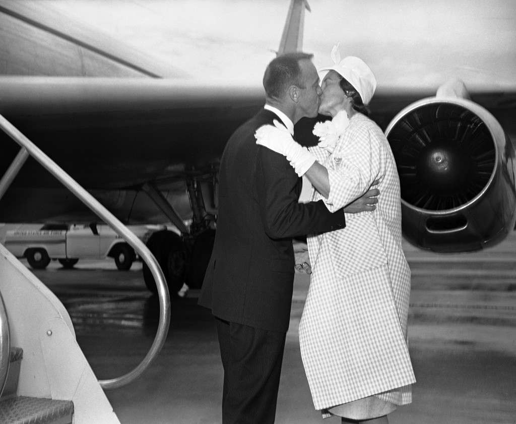 Cmdr. Alan Shepard Jr., America's first astronaut, kisses Mrs. Shepard upon his arrival at Andrews Air Force Base in Washington on May 8, 1961. (AP Photo) Ref #: PA.8776629