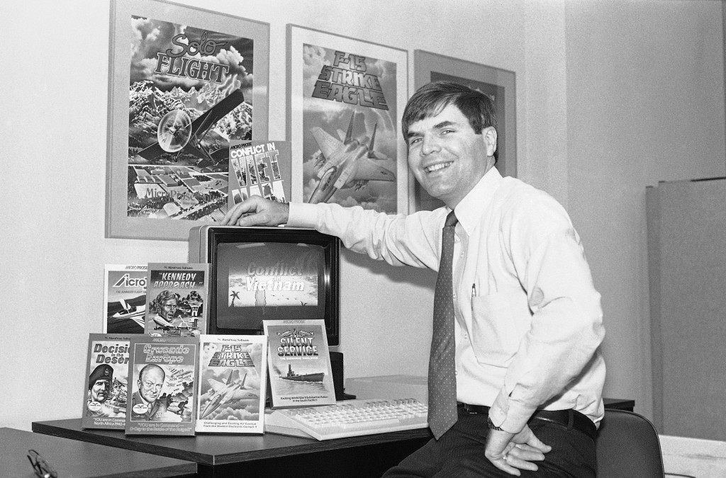 A computer game based on the crucial battles of the Vietnam War is a new program being offered by MicroProse, a software firm in Hunt Valley on June 10, 1986. Bill Stealey, president of the company, says the game highlights the little-known battle decisions of field officers and foot soldiers in the guerrilla conflict. (AP Photo/Bill Smith)