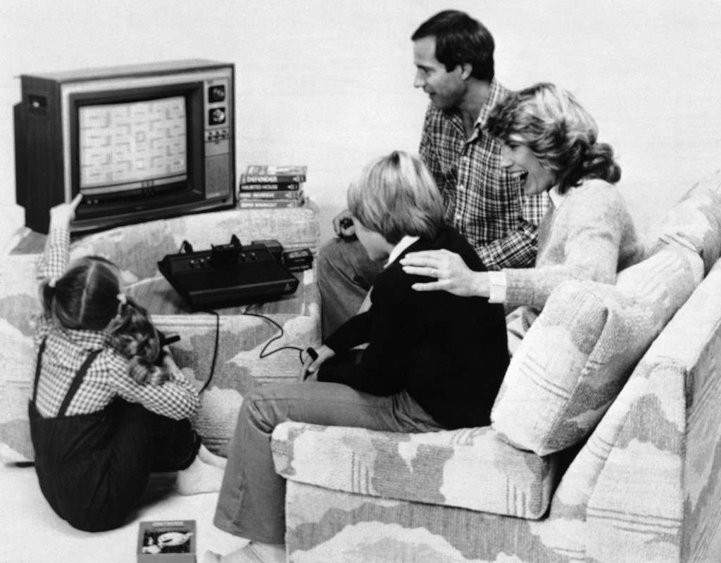 A dozen new game cartridges, including the popular Pac Man, are being developed for the Atari Video Computer System in February 1982. (AP Photo/HO)