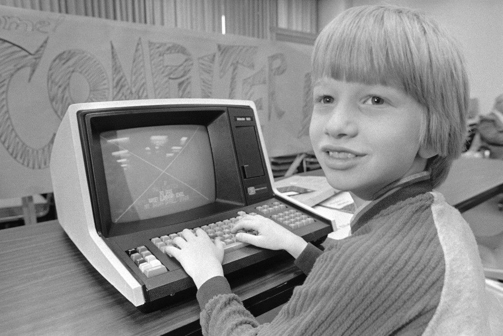 Craig Silverstein, a nine year old third grader at a Pittsburgh area elementary school, works with his computer which he programmed to help him with his math on May 6, 1981. Craig was competing in a scholastic computer competition featuring some 70 elementary and high school students from Pittsburgh area schools. (AP Photo/Gene Puskar)