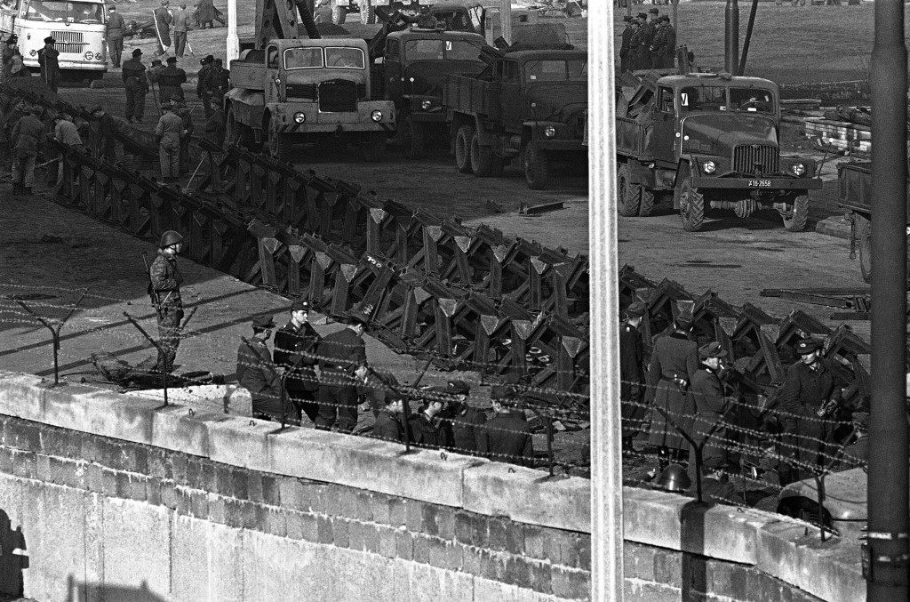 A tank barrier built from a double row of street car tracks stretches along the East Berlin side of the border Nov. 20, 1961 after an all- night effort by construction gangs under guard of armed red troops. The workers also reinforced the concrete wall dividing east and west sectors of the city. (AP Photo/Kreusch) PA-9300263
