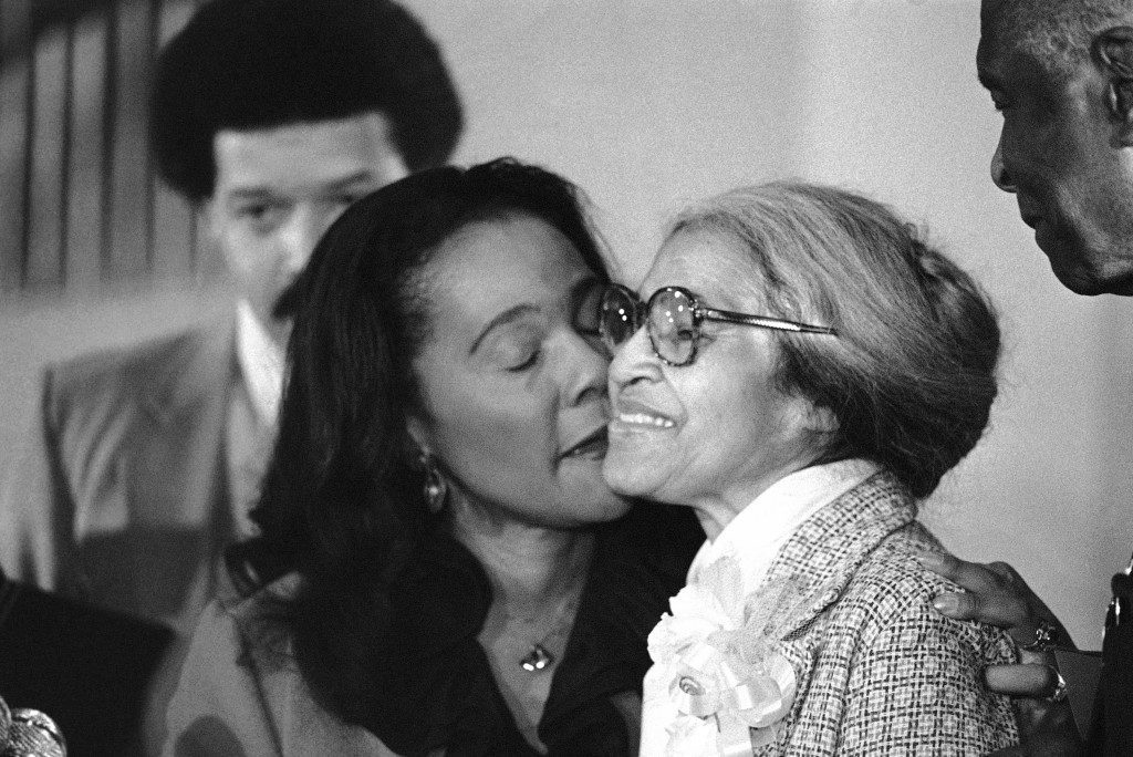 Rosa Parks, right, is kissed by Mrs. Coretta Scott King , as she received the Martin Luther King, Jr. Nonviolent Peace Prize in Atlanta on Monday, Jan. 14, 1980. Parks, who refused to give up her seat in the back of a Montgomery, Ala., bus nearly 25 years ago, is the first woman to win the award. (AP Photo/Grigg) Ref #: PA.9397323  Date: 14/01/1980