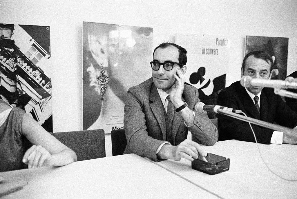 "French director Jean-Luc Godard's ""Masculin, feminin"" is being tipped in the 16th annual Berlin Film Festival as an insider for the top movie prize, the Berlin Golden Bear. Here, Godard is seen during a press conference in Berlin, June 27, 1966. (AP Photo/Edwin Reichert) Ref #: PA.9462299  Date: 27/06/1966"