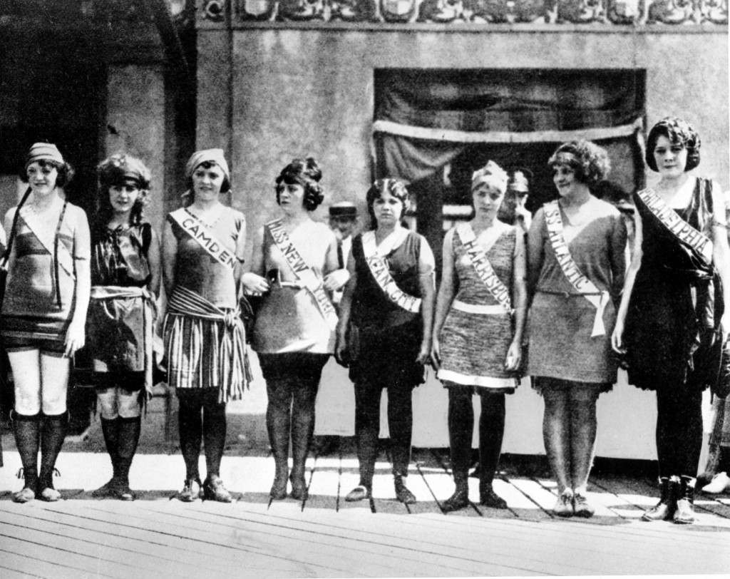 "This September 1921 file photo shows contestants in the first Miss America pageant as they line up for the judges in Atlantic City, N.J. Second from left is Margaret Gorman, who won the competition. With critics hailing ""Boardwalk Empire,"" the HBO series set in Prohibition-era Atlantic City, as perhaps the best of the fall TV season, the 12-episode series will keep Atlantic City in the nation's consciousness far longer and better than any ad could. (AP Photo/FILE) Ref #: PA.9517261 Date: 01/09/1921"