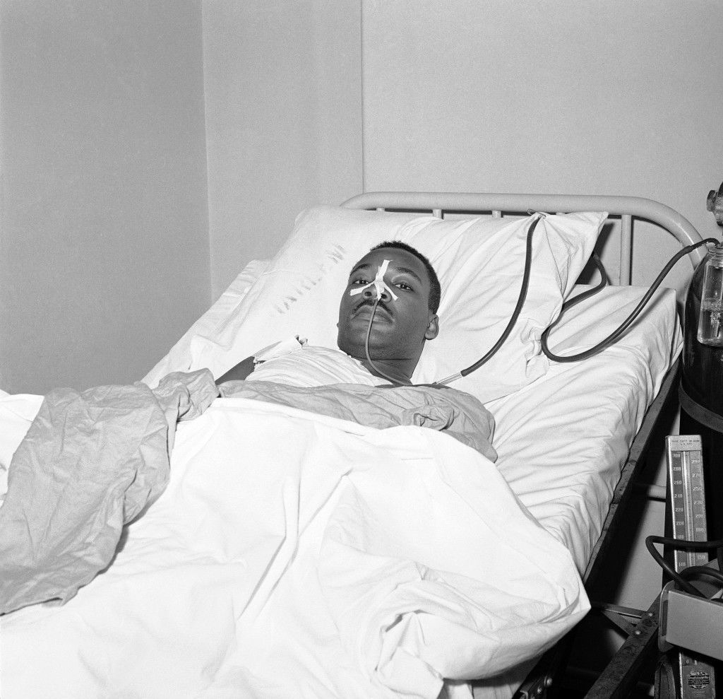 The Rev. Martin Luther King Jr., African American integration leader, in bed at New York's Harlem Hospital on Sept. 21, 1958 following operation to remove steel letter opener from his chest. Rev. King was in critical condition immediately after his assailant, an African American woman undergoing mental observation at Bellevue Hospital, plunged the letter opener into King. (AP Photo/John Lent) Ref #: PA.9535448