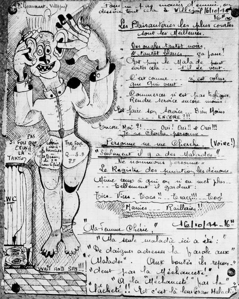 This drawing, with its suggestion of humor and disorder, is among the works of art by inmates of the St. Anne Insane Asylum, exhibited at the institution in Paris, March 6, 1946. The writing is a miscellany of seemingly unconnected Gibberish, with no apparent relationship to the drawing. To the lawman it seems meaningless. But the Psychiatrist may find in his work some clue to the Patient's insanity. (AP Photo) Ref #: PA.9787358  Date: 06/03/1946