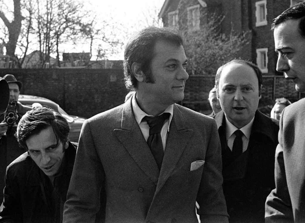 Tony Curtis, famous Hollywood film star is pictured in London, United Kingdom, on April 27, 1970, before appearing at Uxbridge Court, Middlesex, England where he pleaded guilty to having in his possession a quantity of cannabis resin, when he arrived at London Airport Heathrow at night. He was fined £50 (dollars 120). (AP Photo/Peter Kemp) Ref #: PA.9819778