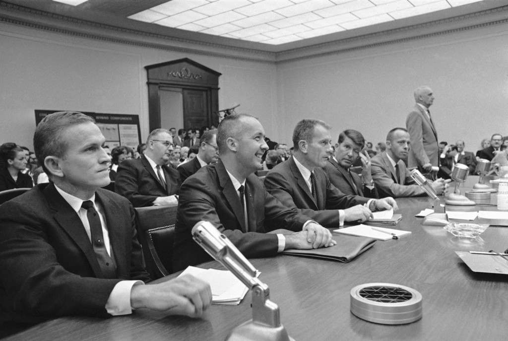 Five astronauts wait in Washington on April 17, 1967 to testify before a House investigating subcommittee in the probe of the fire aboard the Apollo I which took the lives of three follow spacemen at Cape Kennedy, Fla. From left are Frank Borman, James A. McDivitt, Donald K. Slayton, Walter M. Schirra Jr., and Alan B. Shepard. (AP Photo/Bob Schutz) Ref #: PA.9931229
