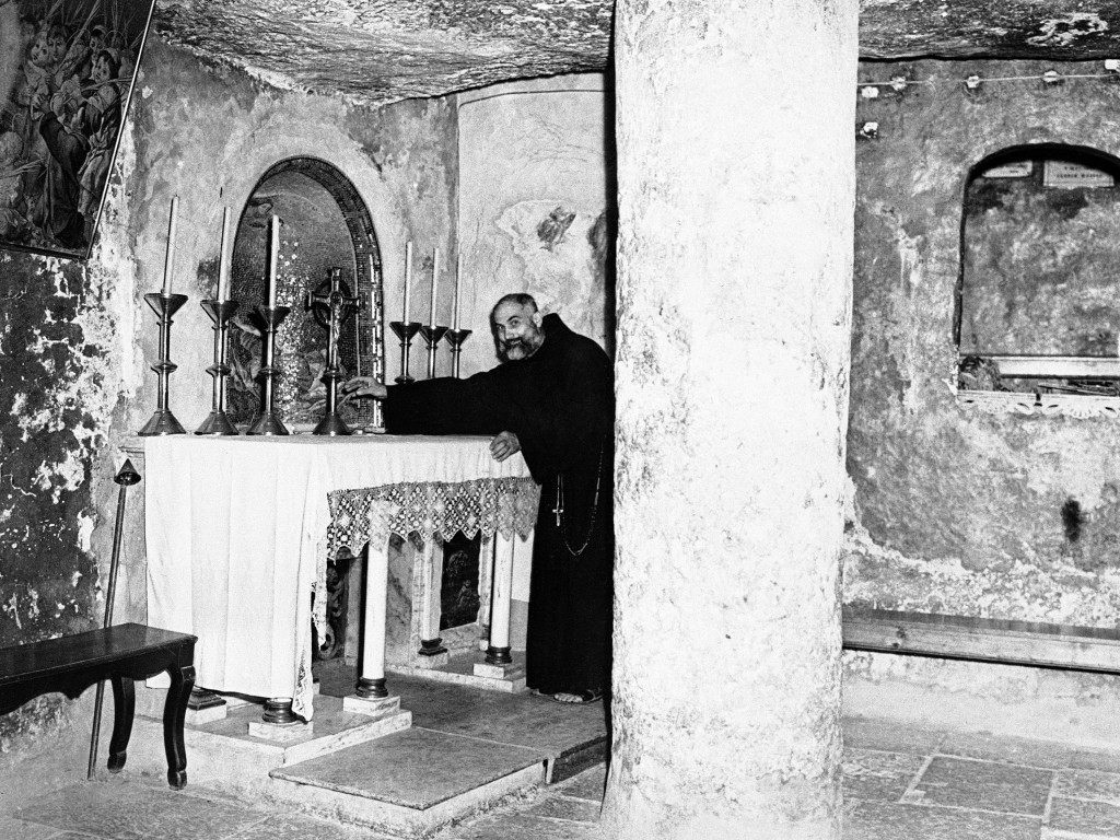 Brother Camillus Liska, Sacristan at the Grotto of St. Jerome in Jerusalem, Israel, on Nov. 28, 1945. (AP Photo) Ref #: PA.9934127 Date: 28/11/1945
