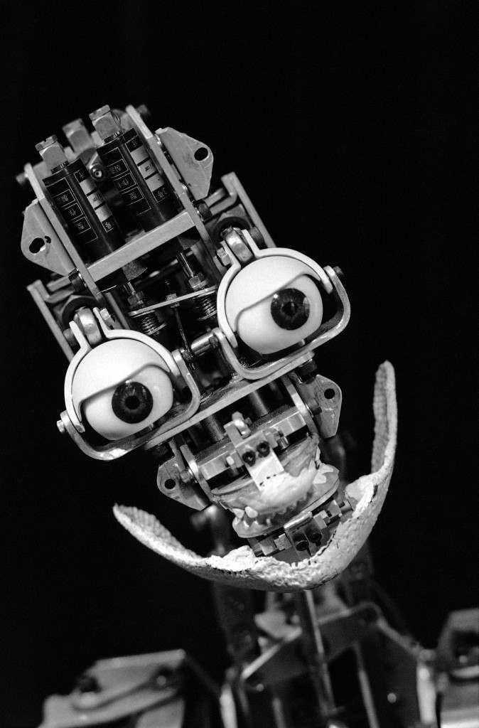 Robot beauty is only skin deep, or so it seems with this Japanese model on display at a trade show of TV games and other amusements in Tokyo on Oct. 5, 1985. Suitable skin, plastic naturally, and a computer programmed pout make this robot look a little more – human. (AP Photo/Neal Ulevich)