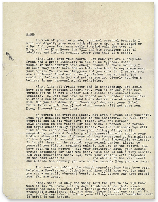 You Are Done': The letter sent to King by the F.B.I. (One person's name has been obscured because The Times could not verify or disprove the claims about her.) Credit National Archives, College Park, Maryland