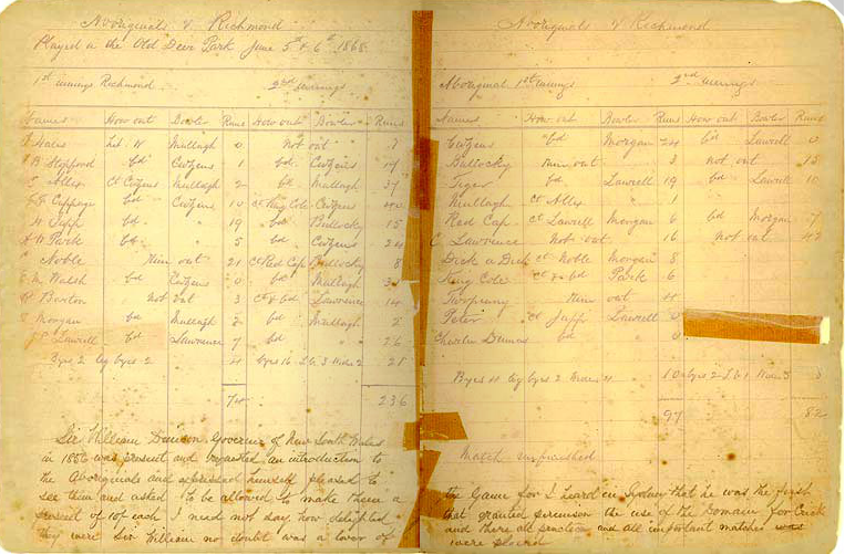 The Scorebook of the Aboriginal Cricket Tour of England is a copy, in Charles Lawrence's hand, of the original scorebook. It records names of both teams for all innings, scores, results, umpires' names and other details for every match. The scorebook also includes scores for 22 of Dublin v United Ireland Xl, 1856 and United Ireland XI v 22 of the North of Ireland, 1860.