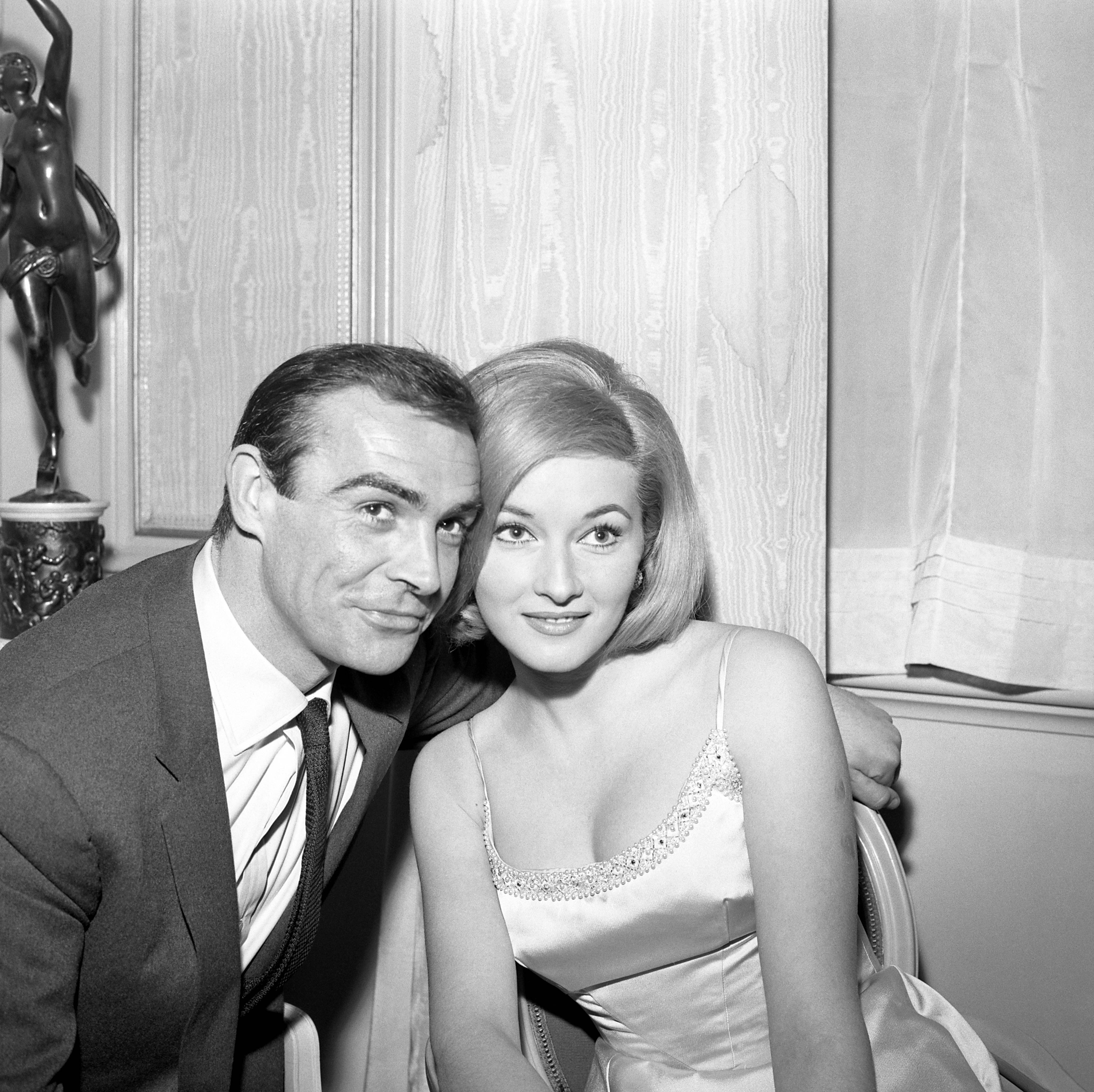 Daniela Bianchi pictured in London with Sean Connery with whom she will make her international film debut in 'From Russia, With Love'- an Ian Fleming spy thriller again featuring British Secret Service agent James Bond 007.