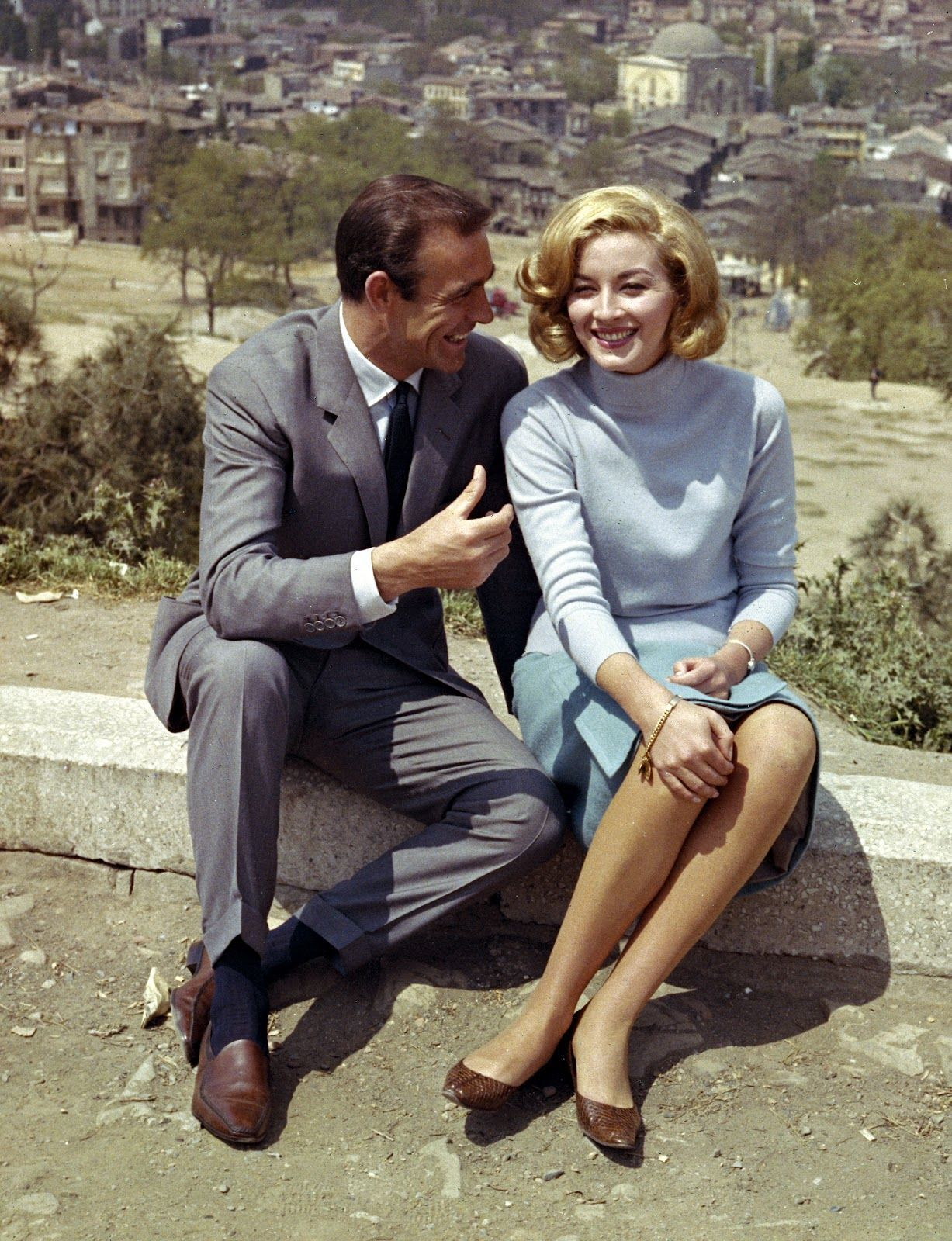 Sean and Daniela Bianchi during the filming of From Russia with Love. April 1963