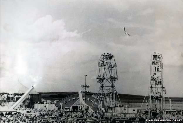 Hugo Zacchini's act included a flight over two and sometimes three Ferris wheels