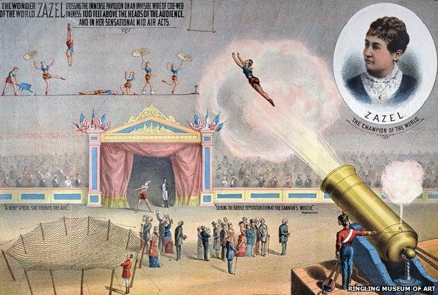 The first human cannonball was Rosa Richter - aka Zazel - in 1877. She used a spring-powered cannon