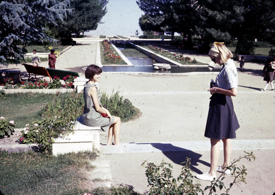(L-R) Jan and Peg Podlich at Paghman Gardens, which was destroyed during the years of war before the 2001 U.S. invasion of Afghanistan.