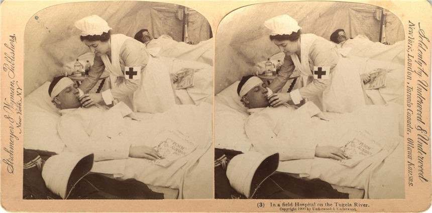 Field hospital on the Tugela River in South Africa during the Boer War, 1900 Produced by Underwood & Underwood, New York