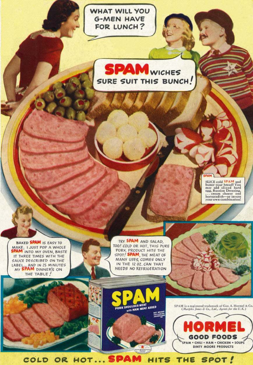 1941 Food Ad, Hormel Spam, Kids As G-Men