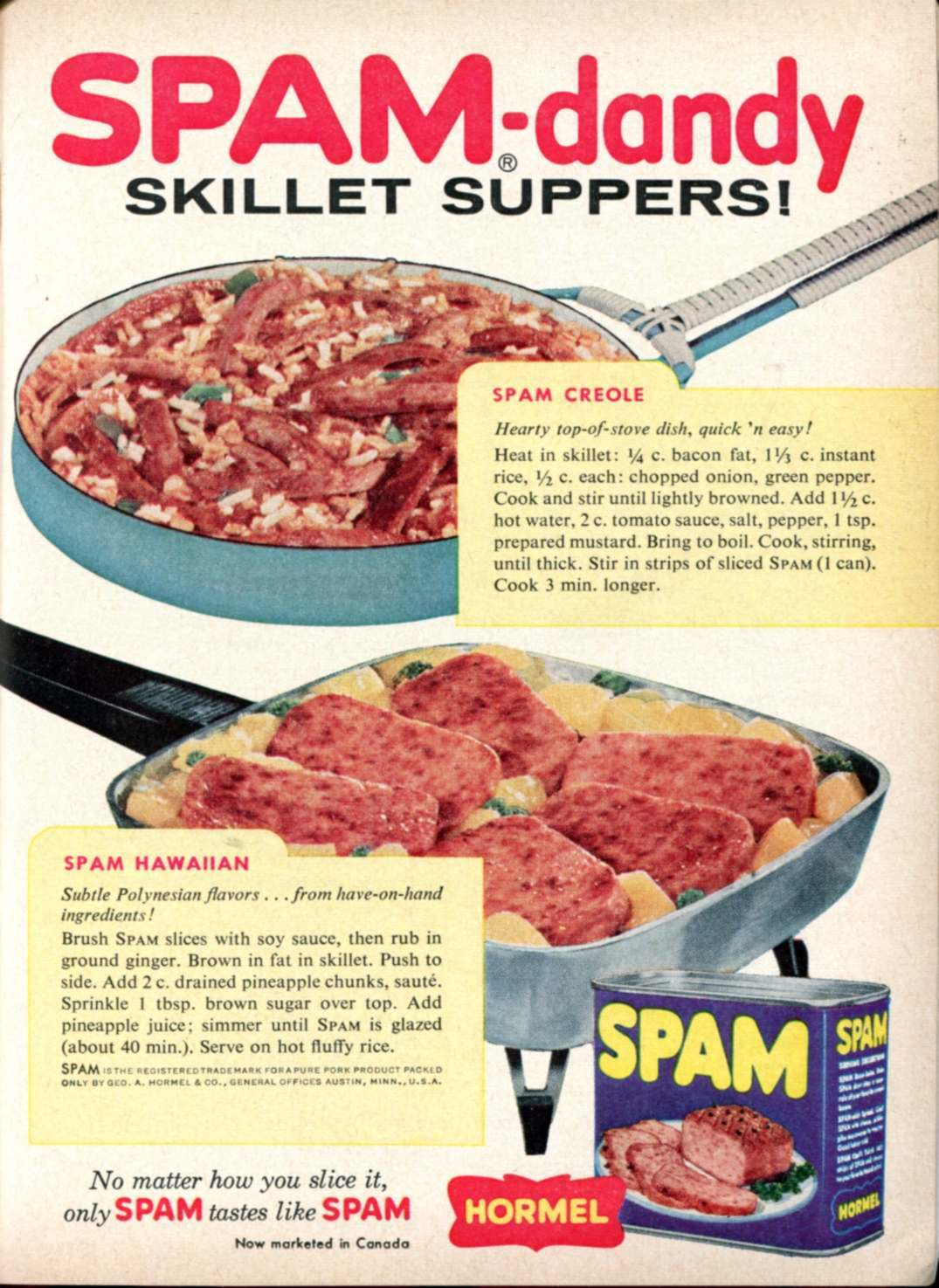 1959 Spam Advertisement Readers Digest February 1959