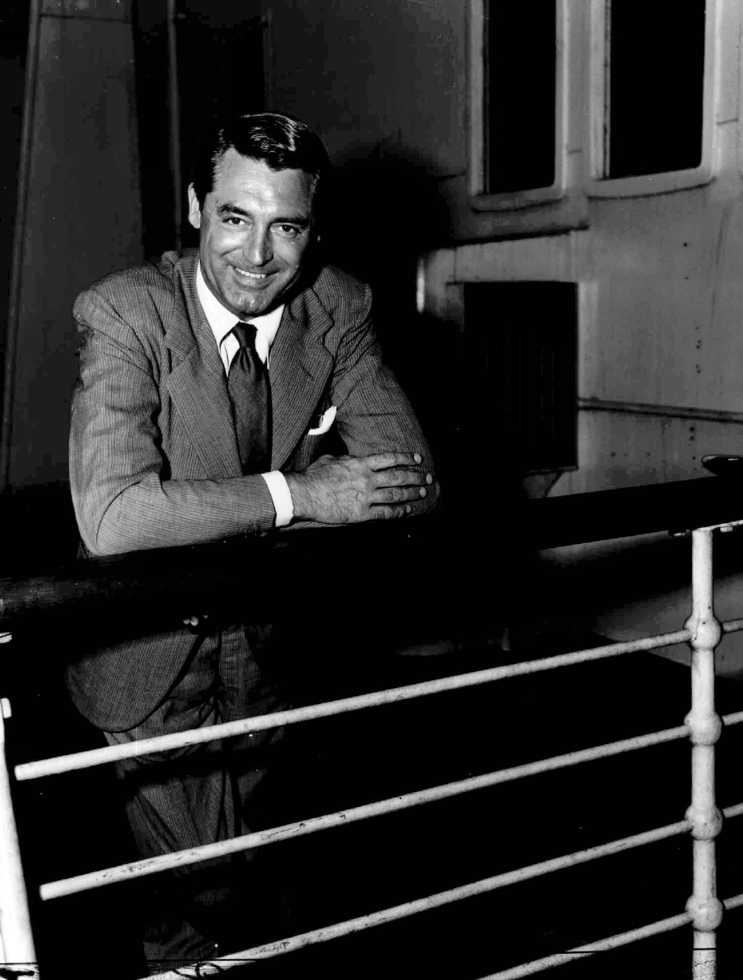 Actor Cary Grant as he arrives in New York City aboard the Queen Mary liner.