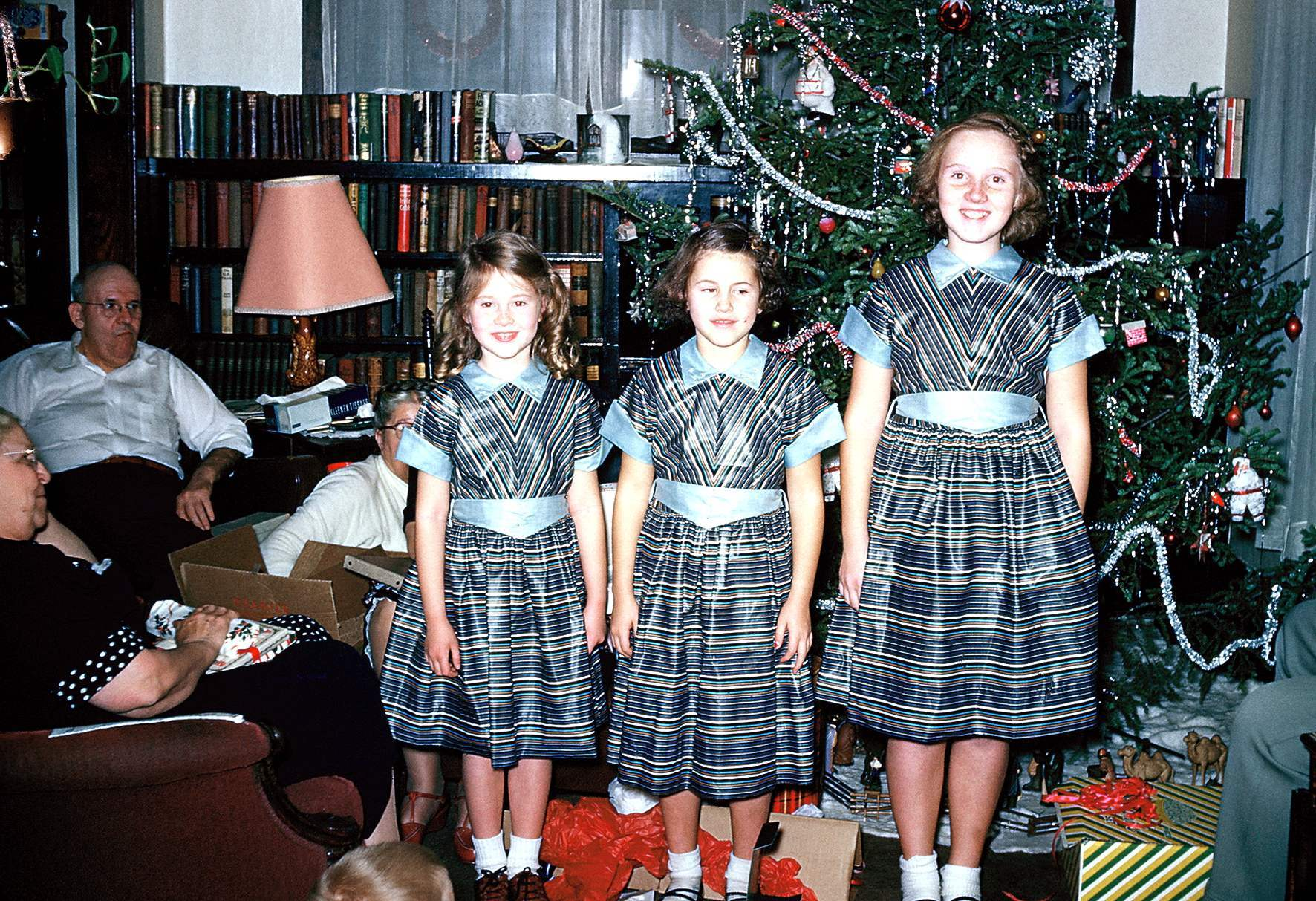Christmas 1953 3 girls lined up