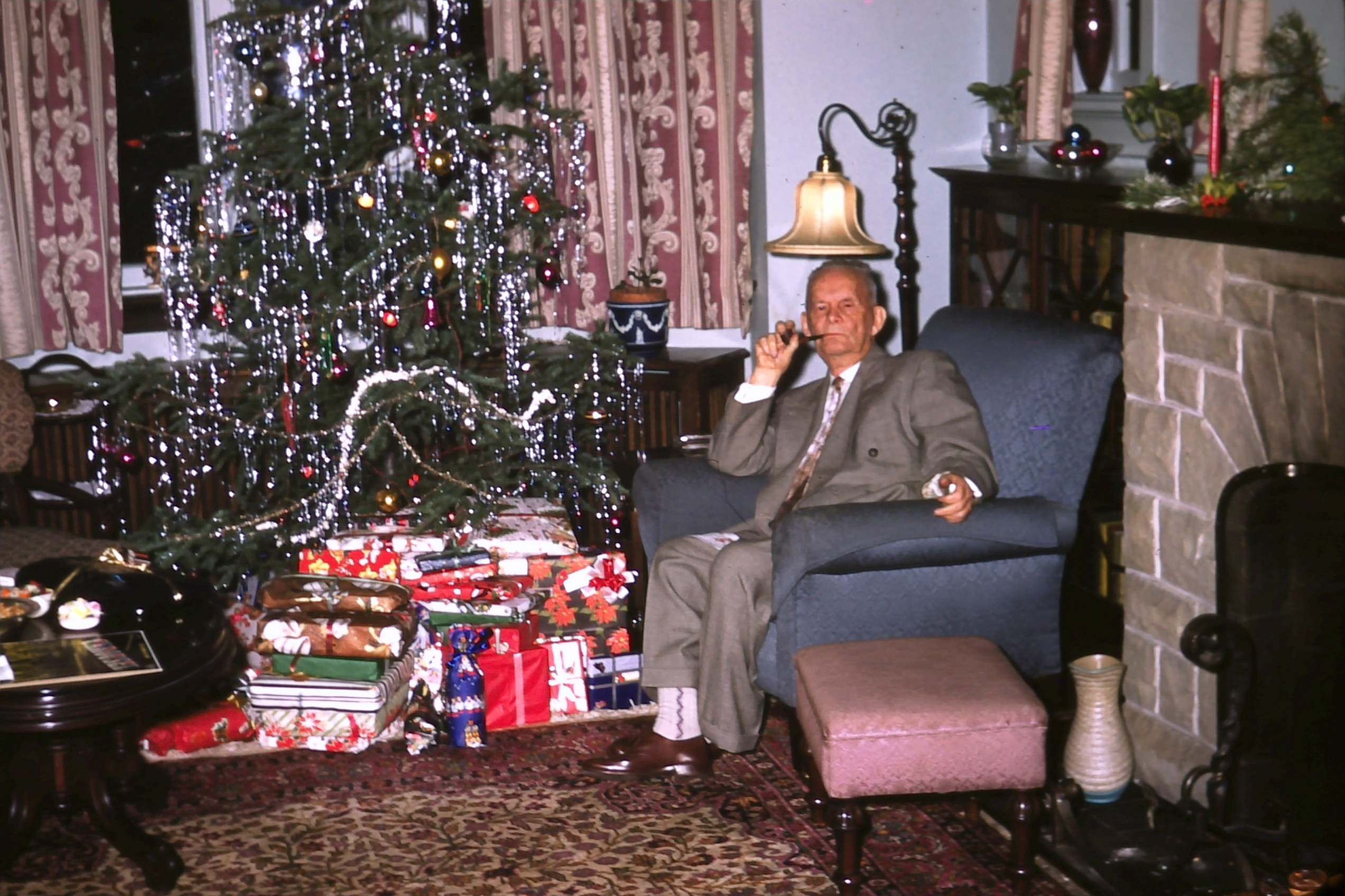 Christmas man with pipe 1957
