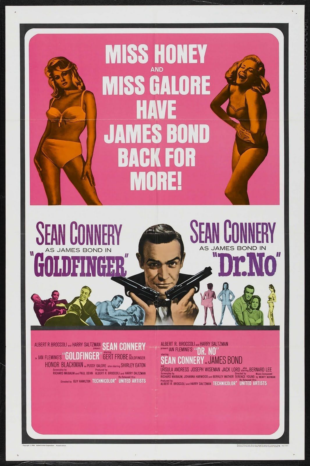 Goldfinger US poster. Note the use of 'Miss Galore'