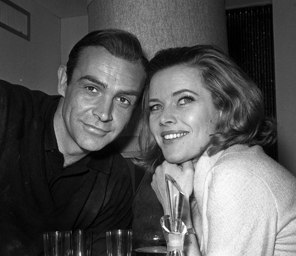 Honor Blackman (Pussy Galore) meets Sean Connery (James Bond) for the first time before filming of the third Bond movie 'Goldfinger'.