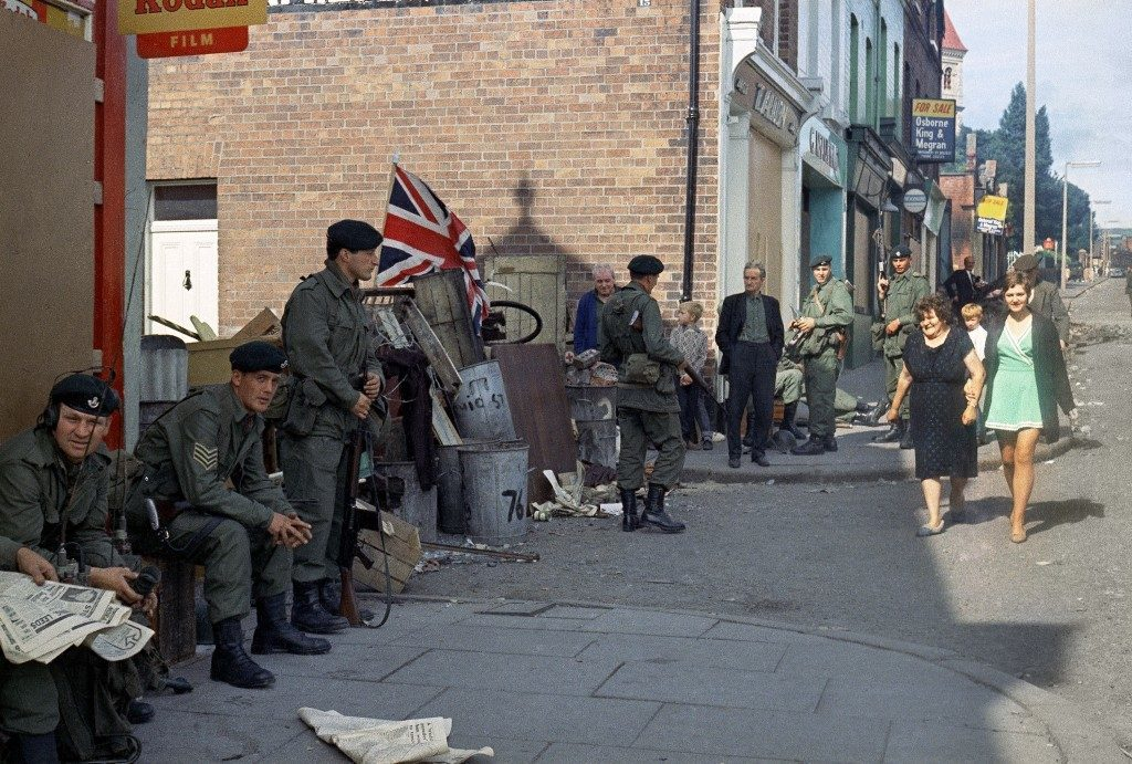 British troops in Belfast, Northern Ireland around 1969. (AP Photo/Peter Kemp) Ref #: PA.11197766  Date: 01/01/1969