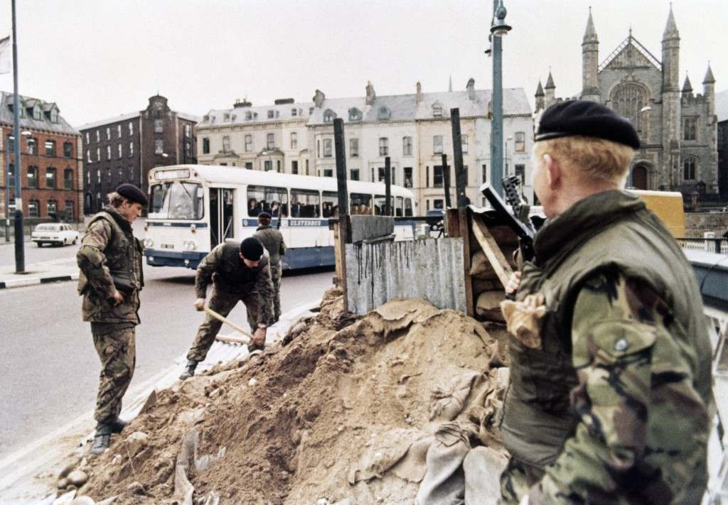British troops tidy out their defense position in the centre of Londonderry, Northern Ireland in April 1972. (AP Photo/Michel Lipchitz) Ref #: PA.11197851