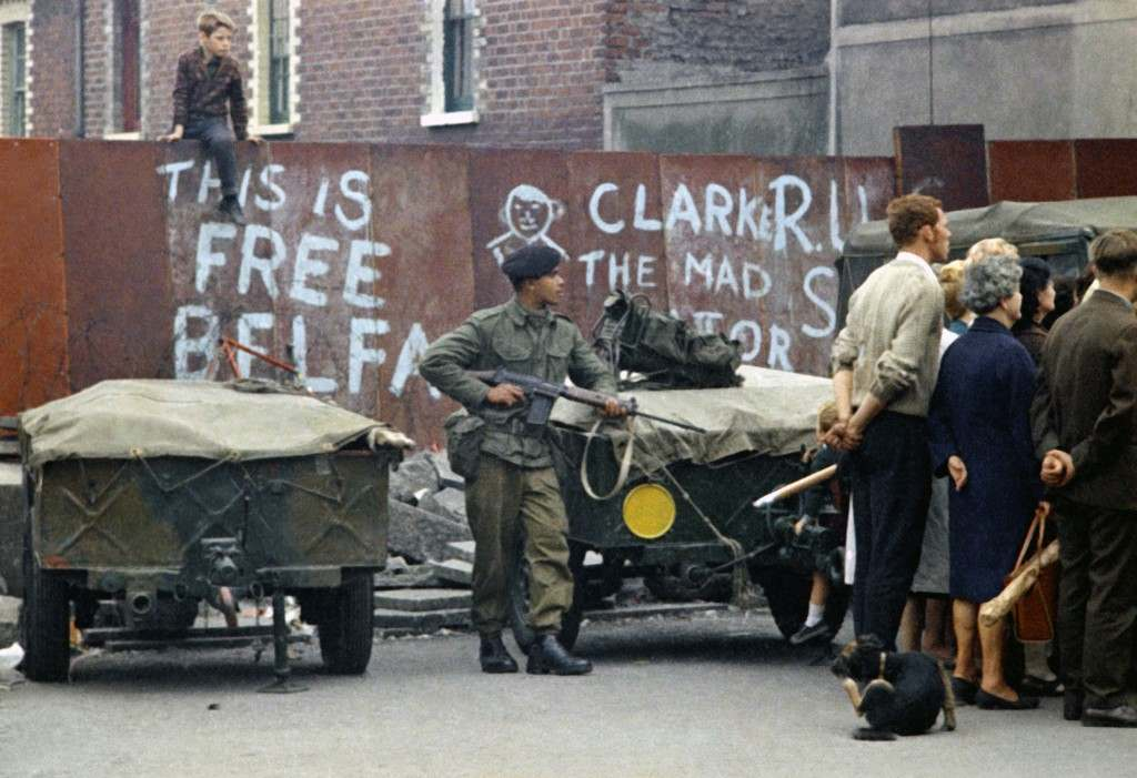 An armed British soldier in Belfast, Northern Ireland during disorders in September 1969. (AP Photo/Royle) Ref #: PA.11408158 Date: 14/09/1969