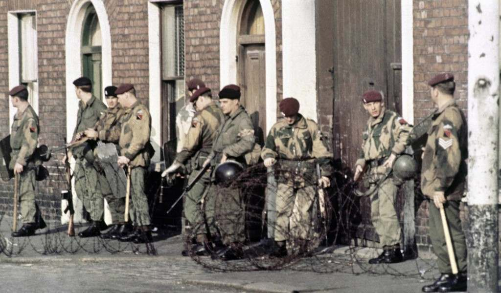 British troops patrol in Belfast, Northern Ireland in 1969, following conflict in the city. (AP Photo/Peter Kemp) Ref #: PA.11408227