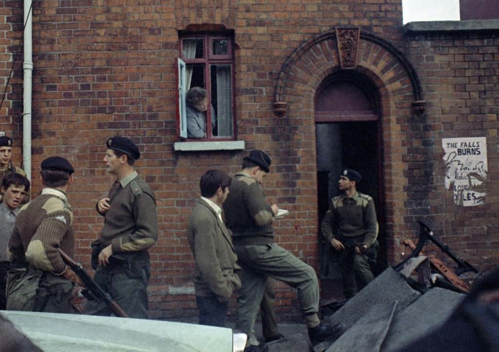 Armed British soldiers in Belfast, Northern Ireland during disorders in September 1969. (AP Photo/Royle) Ref #: PA.11408268  Date: 14/09/1969