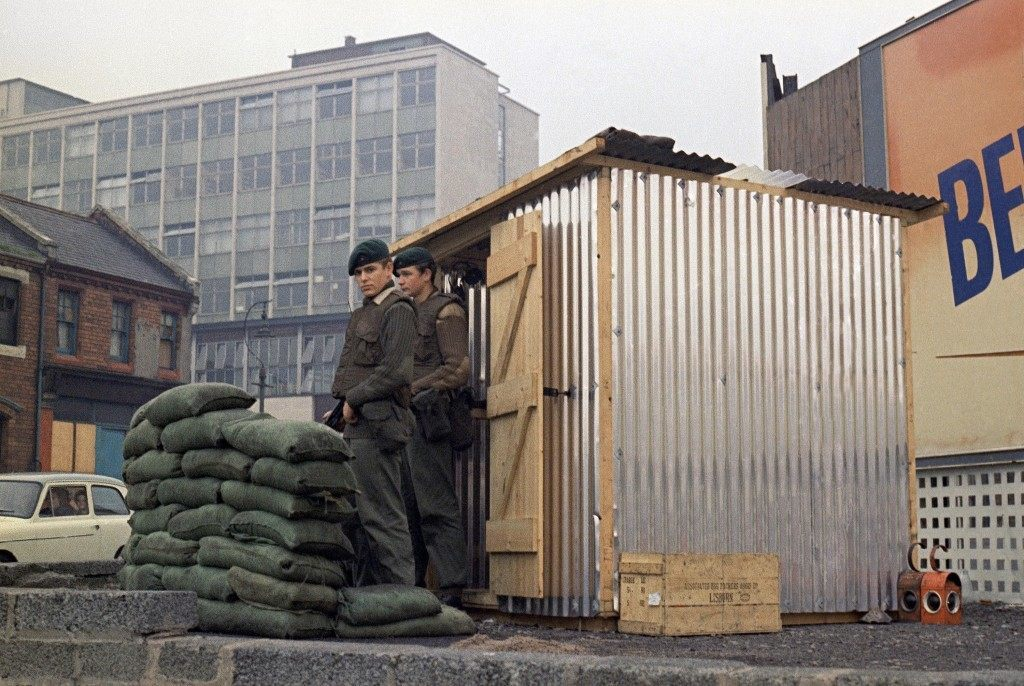 British troops in Belfast, Northern Ireland stand outside a new all weather shelter in October 1969. (AP Photo/Peter Kemp) Ref #: PA.11410183 Date: 01/10/1969