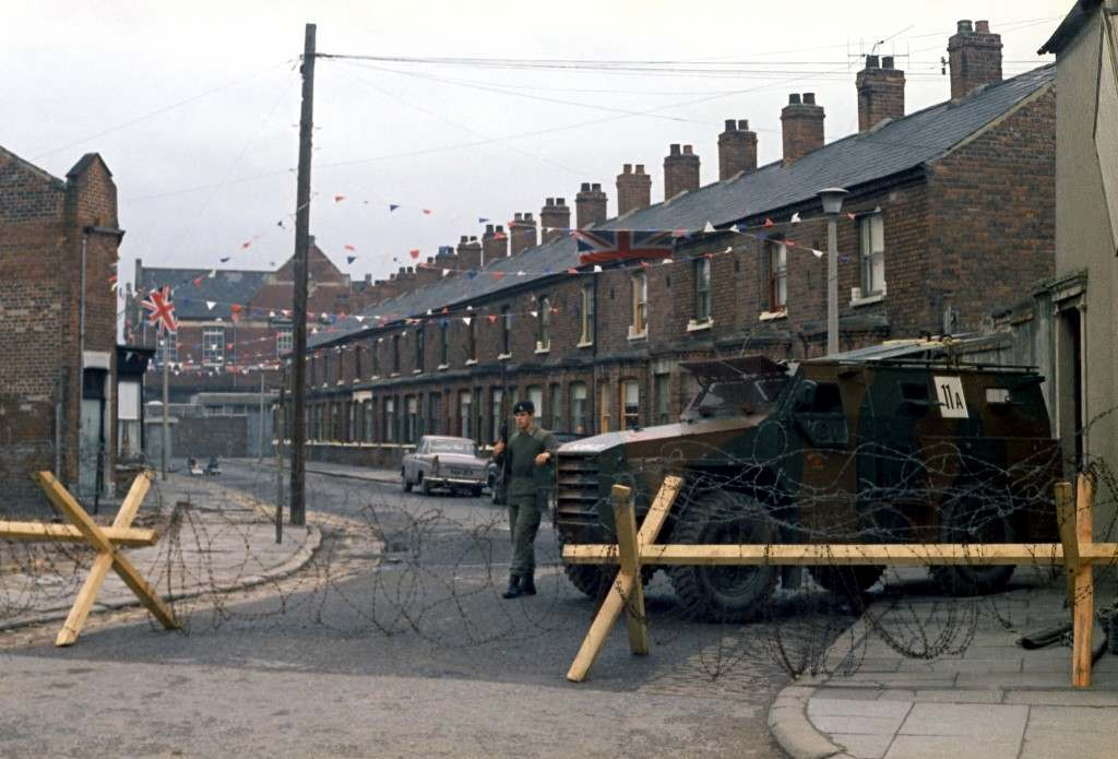 British troops at known trouble spots in the city streets during the Orange Day Parade in Belfast, Northern Ireland on July 13, 1970. (AP Photo/Peter Kemp) Ref #: PA.11655907