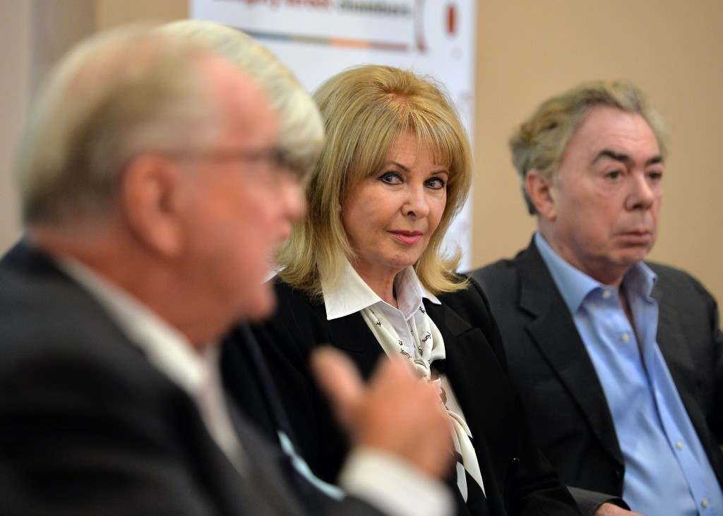 Mandy Rice-Davies and Lord Lloyd-Webber listen to Lord Hutchinson QC (left) at the launch in central London of Geoffrey Robertson QC's book which demonstrates the innocence of society osteopath Stephen Ward, who committed suicide after he was put on trial following the Profumo scandal in the 1960s.