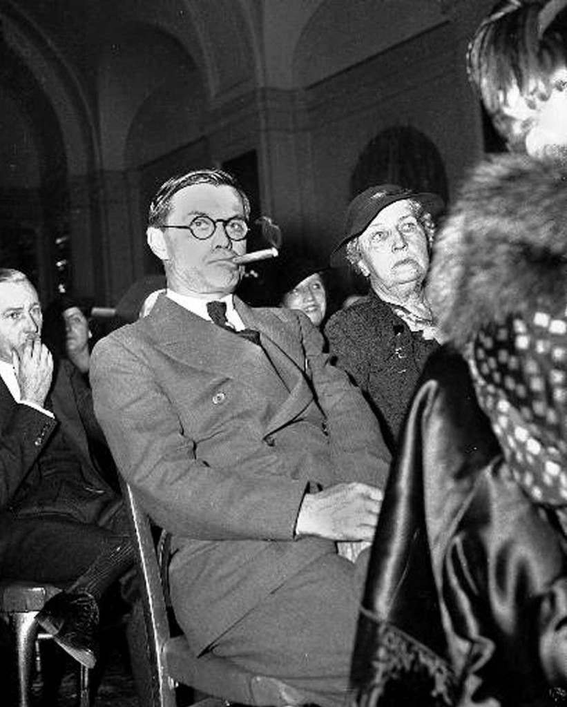 Georgia Governor Eugene Talmadge bites his cigar at a Democratic National Committee meeting in Washington, D.C., in a Jan. 9, 1936 file photo. Newly released files from a horrific lynching of two black couples 61 years ago contain a disturbing revelation: The FBI investigated suspicions that Talmadge, a three-term governor of Georgia, approved the murders to sway rural white voters during a tough election campaign. (AP Photo, File)