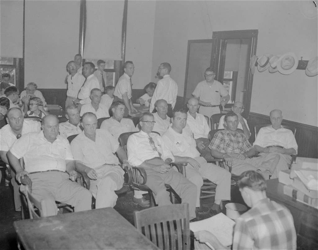 These 12 men were seated September 20, 1955 in the jury box to hear testimony and decide the fate of Roy Bryant and J.W. Milam, who are charged with slaying Emmett Louis Till. Left to right, in front row, are Gus Ramsey, James Toole, E.L. Price, J.A. Shaw, Jr., Ray Tribble, and Ed Devaney. Back row, Travis Thomas, George Holland, Jim Pennington, Davis Newton, Howard Armstrong, and Bishop Matthews. The alternate juror is not pictured. (AP Photo/stf)