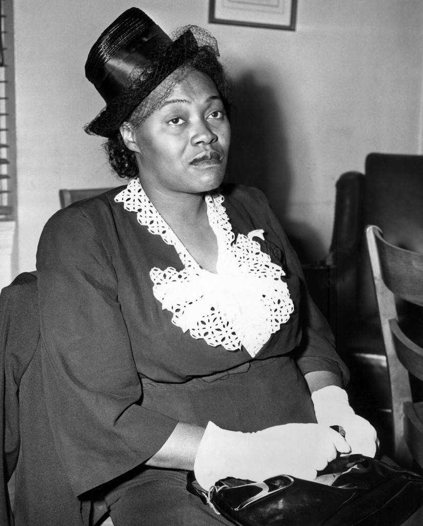 Tessie Earle, 38-year-old mother of Willie Earle, Greenville, South Carolina, lynch victim, appears at a press conference in New York, May 25, 1947. The National Negro Day Committee arranged and financed the trip for Mrs. Earle from Greenville to New York so that she could appear on May 27 in Madison Square Garden at a program sponsored by the committee. (AP Photo/Julian C. Wilson)