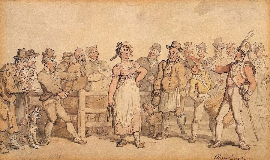 Rowlandson_Thomas_Selling_a_Wife_1812-14