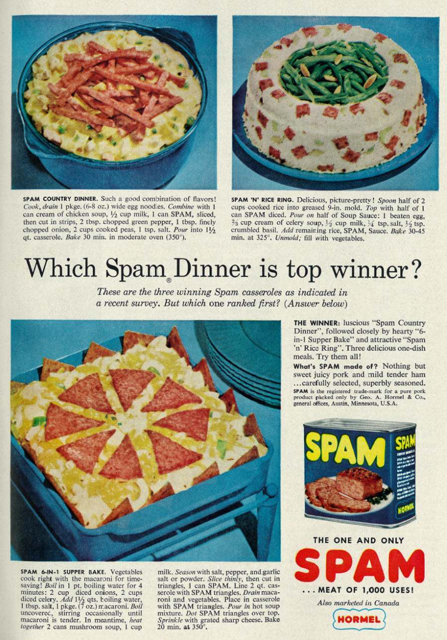 Spam ad 1958 Which Spam Dinner is top winner